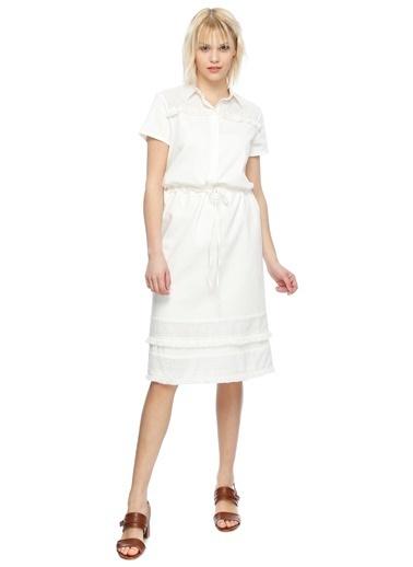 Fabrika Kısa Kollu Midi Elbise Beyaz
